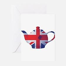 Union Jack Flag Teapot Art Greeting Cards