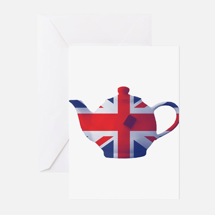 Union Jack Flag Teapot Art Greeting Cards