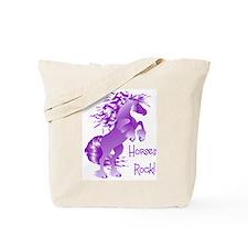 Horses Rock- Purple Tote Bag