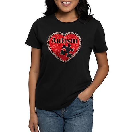 Autism Puzzle Heart Women's Dark T-Shirt