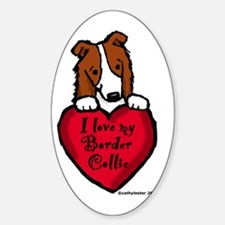 Border Collie (red) Love Oval Decal