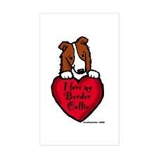 Border Collie (red) Love Rectangle Decal