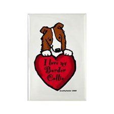 Border Collie (red) Love Rectangle Magnet