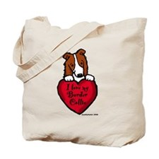 Border Collie (red) Love Tote Bag