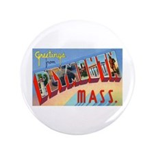 """Plymouth Massachusetts Greetings 3.5"""" Button"""