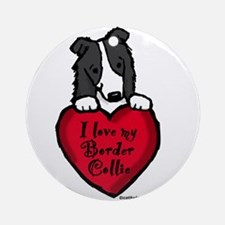 Border Collie (black) Love Ornament (Round)