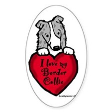 Border Collie (blue merle) Love Oval Decal