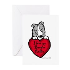 Border Collie (blue merle) Love Greeting Cards (Pk