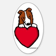 Red Border Collie Valentine Oval Decal