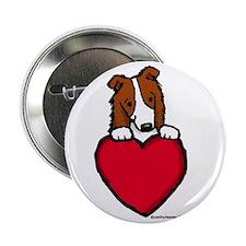 """Red Border Collie Valentine 2.25"""" Button"""
