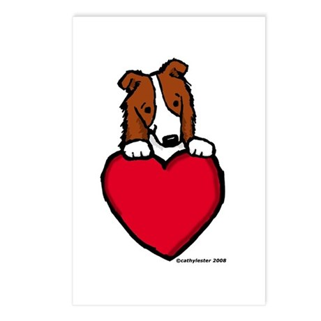 Red Border Collie Valentine Postcards (Package of