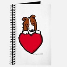 Red Border Collie Valentine Journal