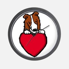 Red Border Collie Valentine Wall Clock
