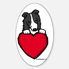 Black Border Collie Valentine Oval Decal