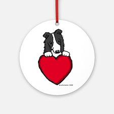 Black Border Collie Valentine Ornament (Round)