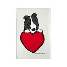 Black Border Collie Valentine Rectangle Magnet