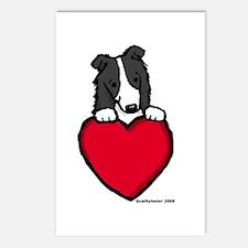 Black Border Collie Valentine Postcards (Package o