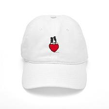Black Border Collie Valentine Baseball Cap