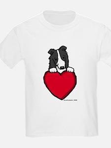 Black Border Collie Valentine T-Shirt