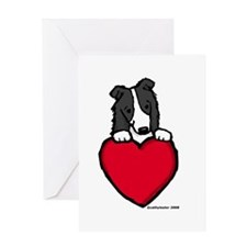 Black Border Collie Valentine Greeting Card