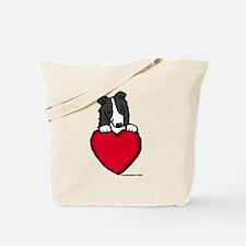 Black Border Collie Valentine Tote Bag