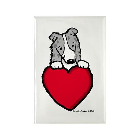 Blue Merle Border Collie Valentine Rectangle Magne