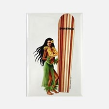 """Hula girl & Longboard""- Rectangle Magnet"