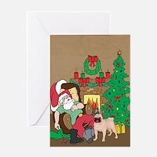 Santa's Pug Christmas Greeting Card