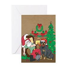 Santas Rottweiler Christmas Greeting Card