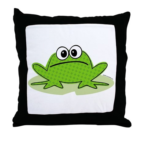 Cute Frog Throw Pillow by circusbaby