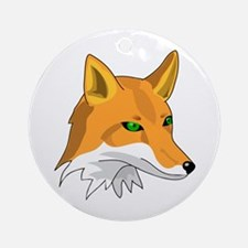 Kitsune (Red Fox) with Green Ornament (Round)
