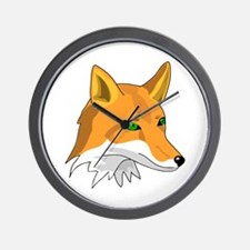 Kitsune (Red Fox) with Green Wall Clock