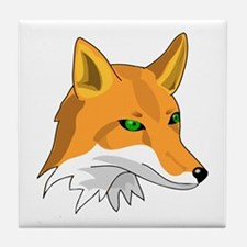 Kitsune (Red Fox) with Green Tile Coaster