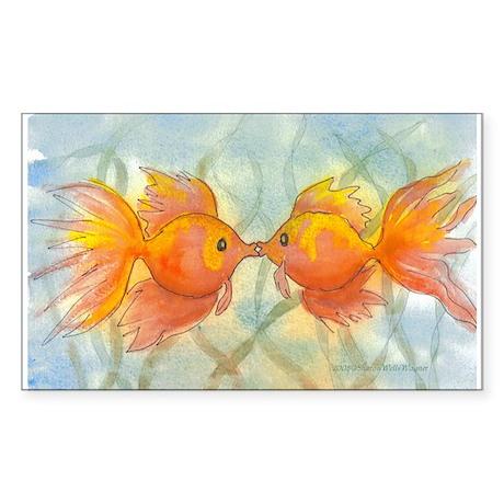 Kissing Fish Rectangle Sticker