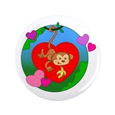 "Valentine Monkey 3.5"" Button"