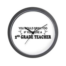 You'd Drink Too 2nd Grade Tchr Wall Clock
