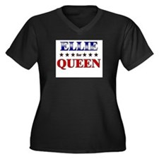 ELLIE for queen Women's Plus Size V-Neck Dark T-Sh