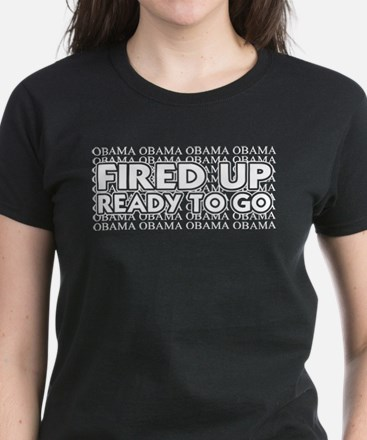 Obama Fired Up Ready to Go Women's Dark T-Shirt
