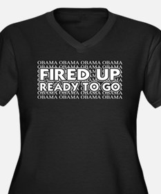 Obama Fired Up Ready to Go Women's Plus Size V-Nec