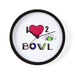 LOVE 2 BOWL Wall Clock