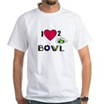 LOVE 2 BOWL White T-Shirt