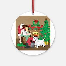 Santa Has A Westie Christmas Ornament (Round)