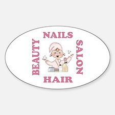 Beauty Salon Hair & Nails Oval Decal