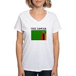 FREE ZAMBIA Women's V-Neck T-Shirt