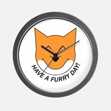 Happy Fox (Have a Furry Day) Wall Clock