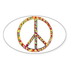 Funky Peace Symbol Oval Decal