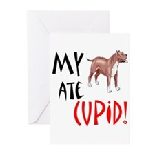 My Pitbull Ate Cupid! Greeting Cards (Pk of 20)