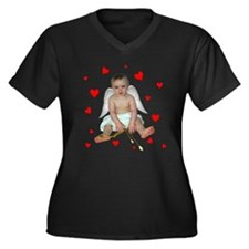 Little Cupid Women's Plus Size V-Neck Dark T-Shirt