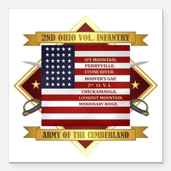 "2nd Ohio Volunteer Infantry Square Car Magnet 3"" x"