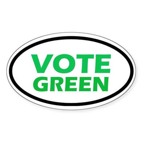 Vote Green Oval Sticker